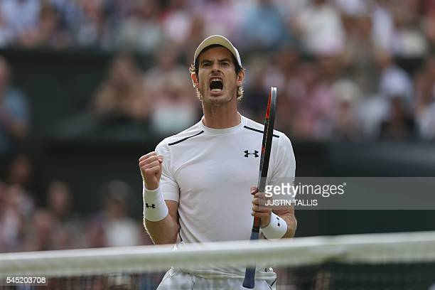 TOPSHOT Britain's Andy Murray celebrates the first set against France's JoWilfried Tsonga during their men's singles quarterfinal match on the tenth...