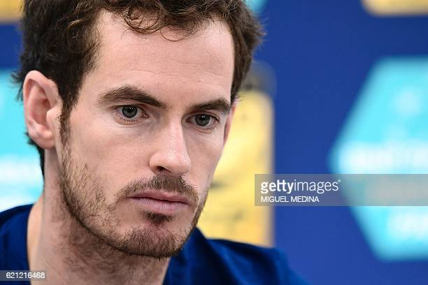 Britain's Andy Murray delivers a press conference at the ATP World Tour Masters 1000 indoor tournament in Paris on November 5 after Canada's Milos...