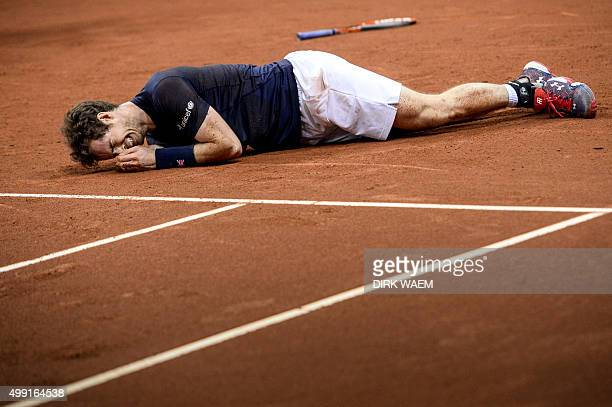 Britain's Andy Murray reacts after winning his tennis match against Belgium's David Goffin to win the Davis Cup final between Belgium and Britain at...