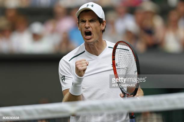 Britain's Andy Murray reacts after winning the final game of the second set against Kazakhstan's Alexander Bublik during their men's singles first...