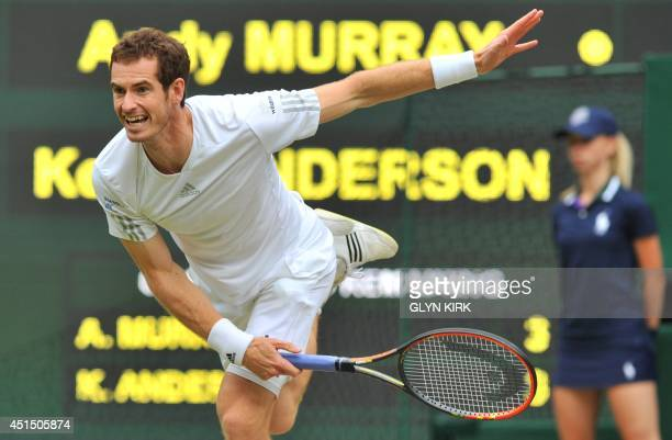 Britain's Andy Murray serves against South Africa's Kevin Anderson during their men's singles fourth round match on day seven of the 2014 Wimbledon...