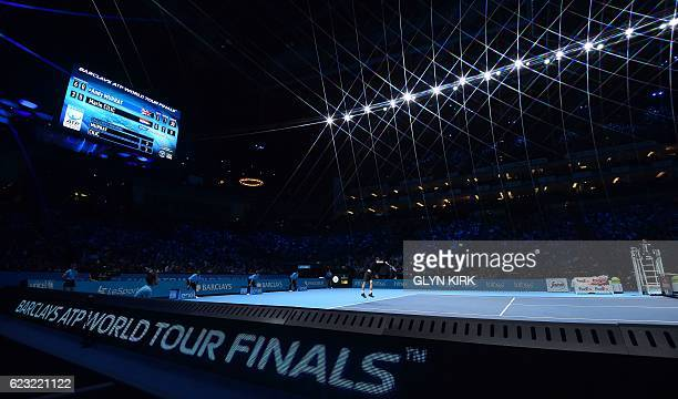 Britain's Andy Murray serves to Croatia's Marin Cilic during their round robin stage men's singles match on day two of the ATP World Tour Finals...