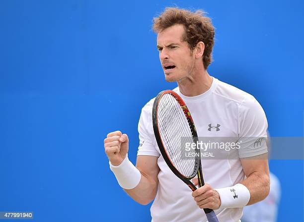 Britain's Andy Murray wins a game against South Africa's Kevin Anderson during their men's singles final match at the ATP Aegon Championships tennis...