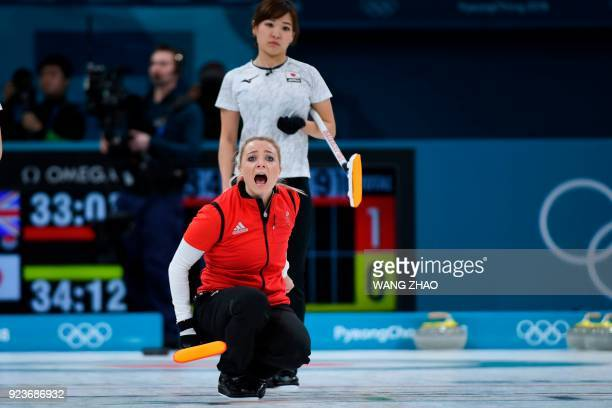 Britain's Anna Sloan shouts instructions during the curling women's bronze medal game during the Pyeongchang 2018 Winter Olympic Games at the...