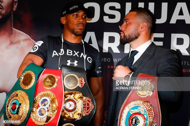 Britain's Anthony Joshua WBA IBF and IBO world heavyweight boxing champion and New Zealand's Joseph Parker WBO world heavyweight champion attend a...