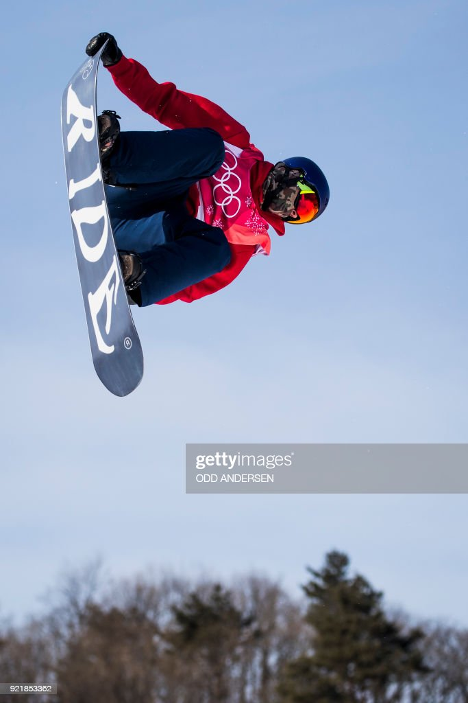 Britain's Billy Morgan competes during the qualification of the men's snowboard big air event at the Alpensia Ski Jumping Centre during the Pyeongchang 2018 Winter Olympic Games in Pyeongchang on February 21, 2018. / AFP PHOTO / Odd ANDERSEN