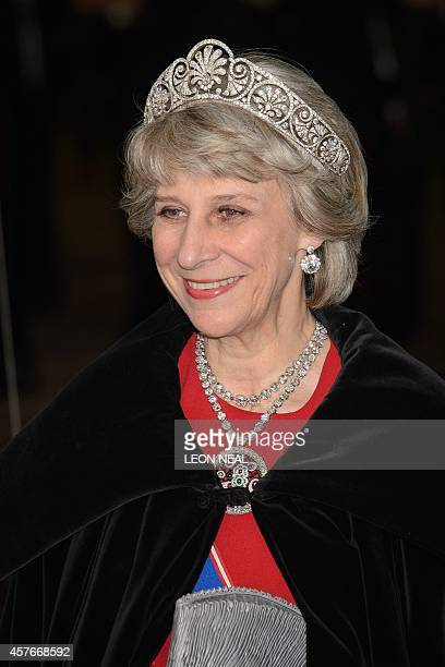 Britain's Birgitte, Duchess of Gloucester, arrives for a banquet in honour of Singapore's President Tony Tan Keng Yam at the Guildhall in central...