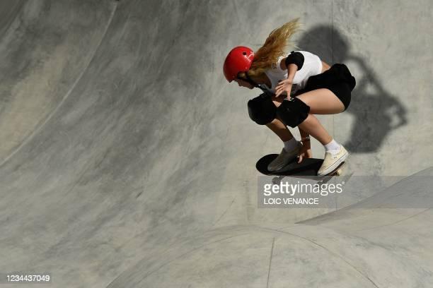 Britain's Bombette Martin competes in the women's park prelims heat 1 during the Tokyo 2020 Olympic Games at Ariake Sports Park Skateboarding in...