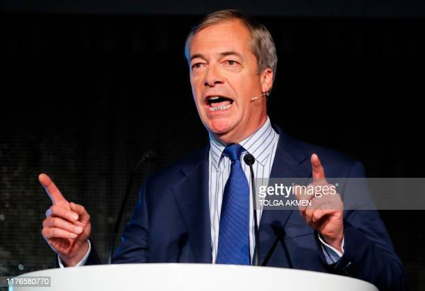 Britain's Brexit Party leader Nigel Farage delivers a speech to supporters in Westminster central London on October 18 on The Brexit Partys case for...