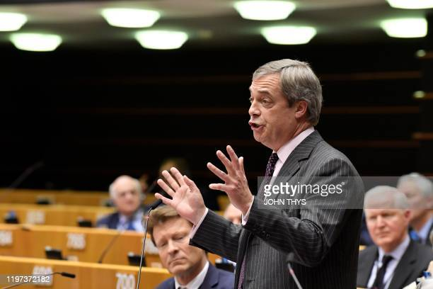 Britain's Brexit Party leader Nigel Farage speaks during a European Parliament plenary session in Brussels on January 29 as Brexit Day is to be set...