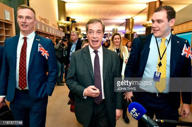 Britain's Brexit Party leader Nigel Farage speaks to the press after the European Parliament ratified the Brexit deal in Brussels on January 29 2020...