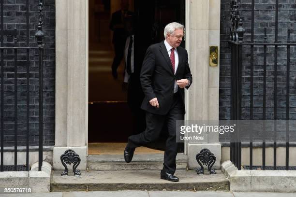 Britain's Brexit Secretary David Davis leaves number 10 Downing Street following an extended Cabinet meeting on September 21 2017 in London England...