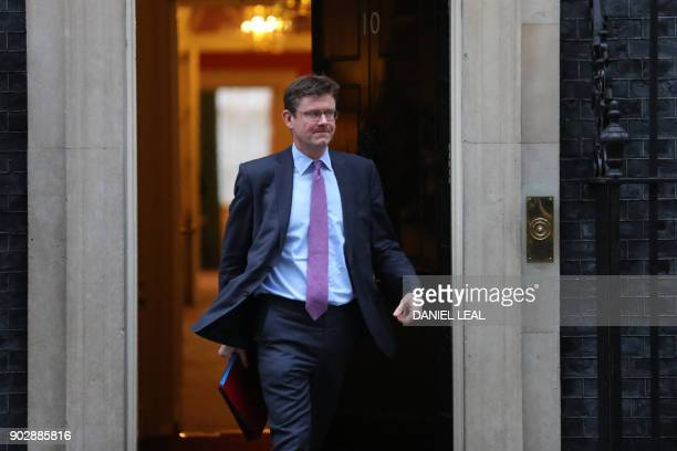 Britain's Business Energy and Industrial Strategy Secretary Greg Clark leaves 10 Downing street in central London after the first cabinet meeting of...