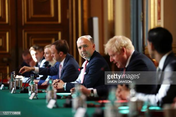 Britain's Cabinet Secretary Mark Sedwill attends a face-to-face meeting of the cabinet, the first since mid-March because of the coronavirus pandemic...