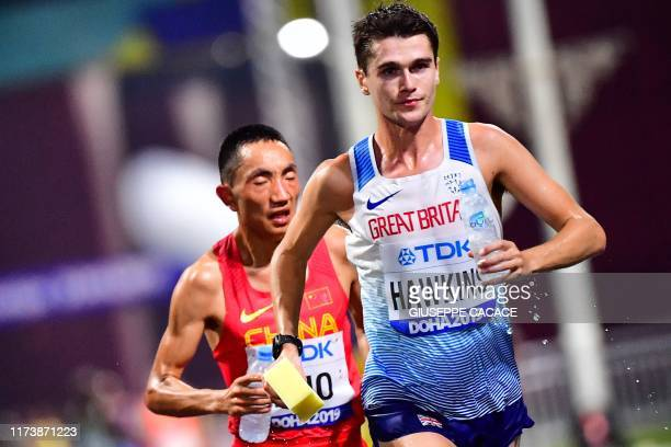 Britain's Callum Hawkins competes in the Men's Marathon at the 2019 IAAF Athletics World Championships in Doha in the night between October 5 2019...
