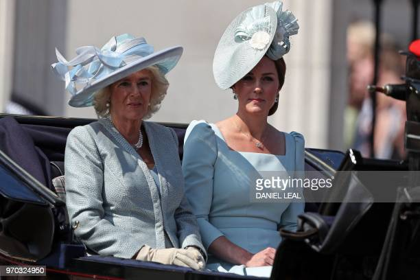 TOPSHOT Britain's Camilla Duchess of Cornwall and Britain's Catherine Duchess of Cambridge travel in a carriage to Horseguards parade ahead of the...