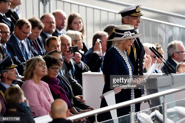 Britain's Camilla Duchess of Cornwall Duchess of Rothesay in Scotland speaks during the official naming ceremony of the QE Class aircraft carrier HMS...