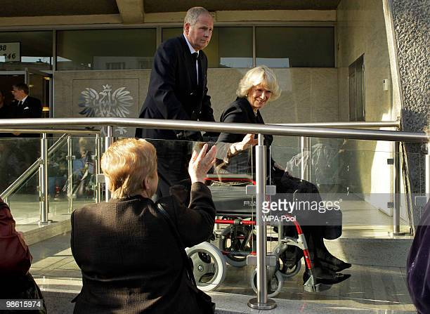 Britain's Camilla Duchess of Cornwall leaves the Polish Social and Cultural Association in London after signing the book of condolence for the Polish...