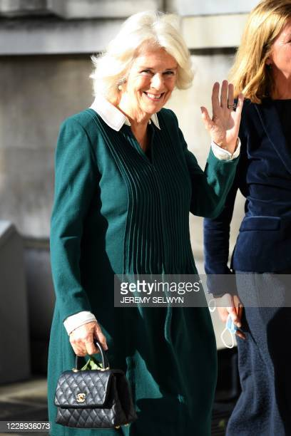 Britain's Camilla Duchess of Cornwall President of Maggie's arrives for a visit to Maggie's Barts at St Bartholomew's Hospital in London on October 7...