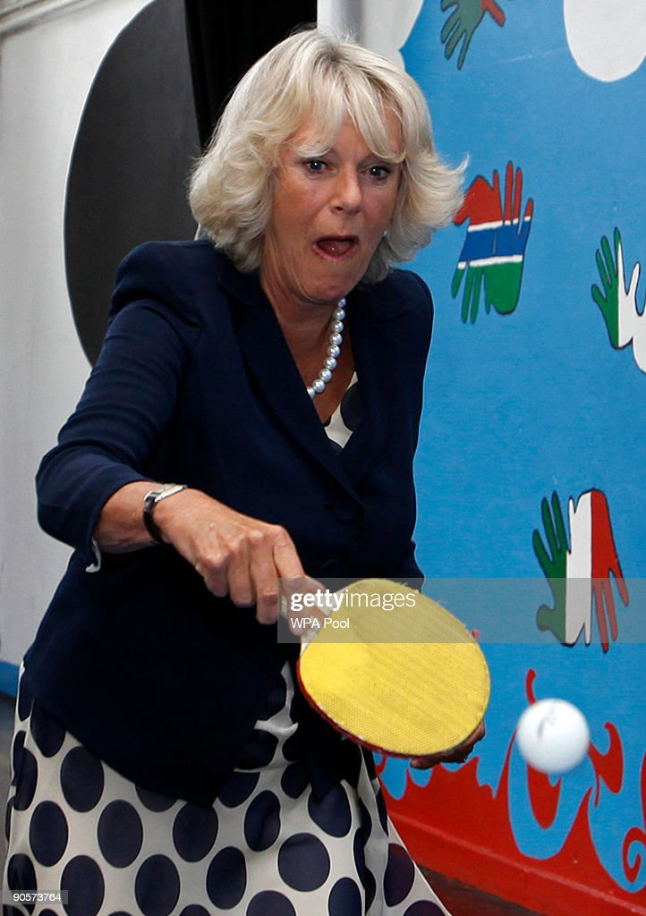 Britain's Camilla, Duchess of Cornwall reacts as she plays table tennis with children during a visit to The Kids Company on September 10, 2009 in Camberwell, London, United Kingdom. The Kids Company provides support to vulnerable inner city youngsters.