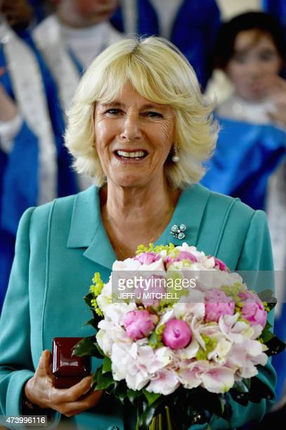 Britain's Camilla Duchess of Cornwall visits Claddagh National School in Galway west Ireland on May 19 2015 Prince Charles became the first British...