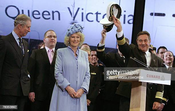 Britain's Camilla the Duchess of Cornwall Prince Charles with Captain Paul Wright on stage during the naming ceremony of the Cunard liner 'Queen...