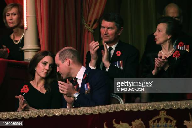 Britain's Catherine Duchess of Cambridge and Britain's Prince William Duke of Cambridge attend the annual Royal British Legion Festival of...
