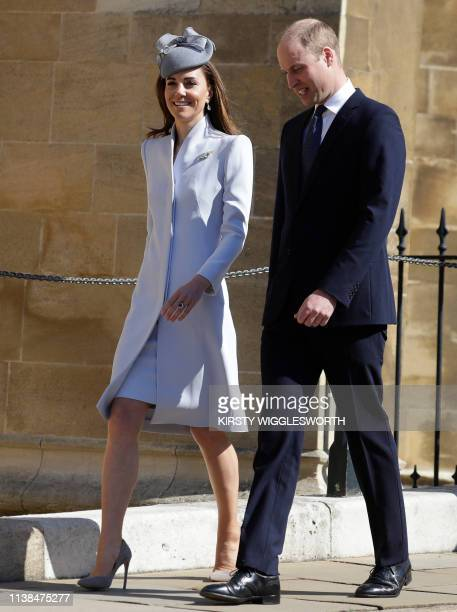 Britain's Catherine Duchess of Cambridge and Britain's Prince William Duke of Cambridge arrrive for the Easter Mattins Service at St George's Chapel...