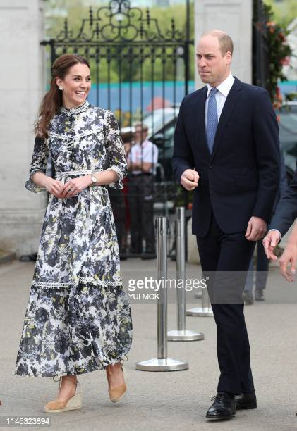 Britain's Catherine Duchess of Cambridge and Britain's Prince William Duke of Cambridge visit the 2019 RHS Chelsea Flower Show in London on May 20...
