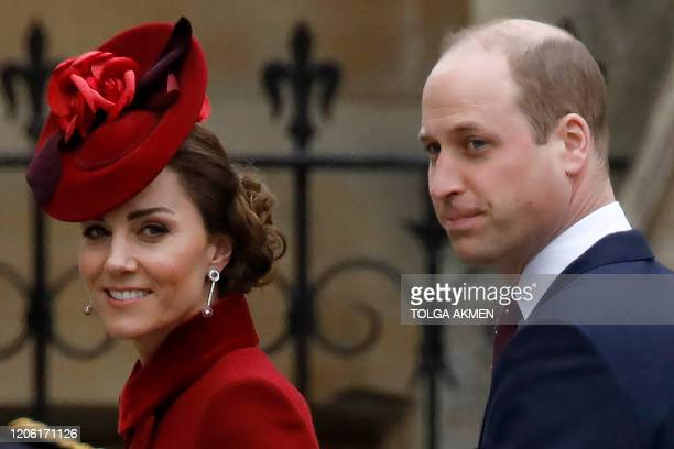 Britain's Catherine Duchess of Cambridge and Britain's Prince William Duke of Cambridge arrive to attend the annual Commonwealth Service at...