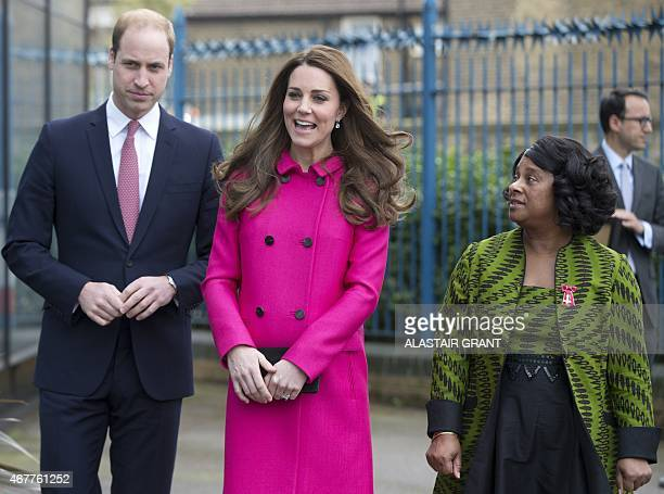 Britain's Catherine Duchess of Cambridge and Britain's Prince William Duke of Cambridge together with Doreen Lawrence Baroness Lawrence of Clarendon...