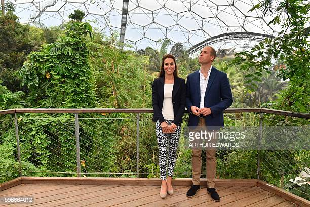 Britain's Catherine Duchess of Cambridge and Britain's Prince William Duke of Cambridge are pictured in the Rainforest Biome as they visit the Eden...
