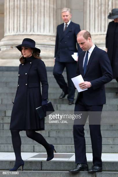 Britain's Catherine Duchess of Cambridge and Britain's Prince William Duke of Cambridge leave after attending the Grenfell Tower National Memorial...