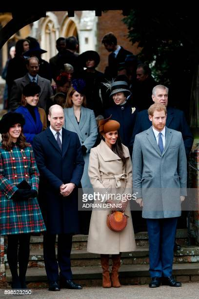 Britain's Catherine Duchess of Cambridge and Britain's Prince William Duke of Cambridge US actress and fiancee of Britain's Prince Harry Meghan...