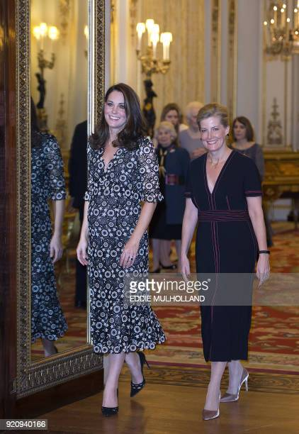 Britain's Catherine Duchess of Cambridge and Britain's Sophie Countess of Wessex gesture as they host a reception to mark the creation of the...