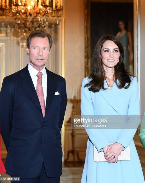 Britain's Catherine Duchess of Cambridge and Grand Duke Henri of Luxembourg pose for a photograph during the Celebration of the 150th anniversary of...