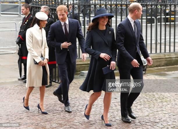 Britain's Catherine Duchess of Cambridge and her husband Britain's Prince William Duke of Cambridge arrive with Britain's Prince Harry and his...