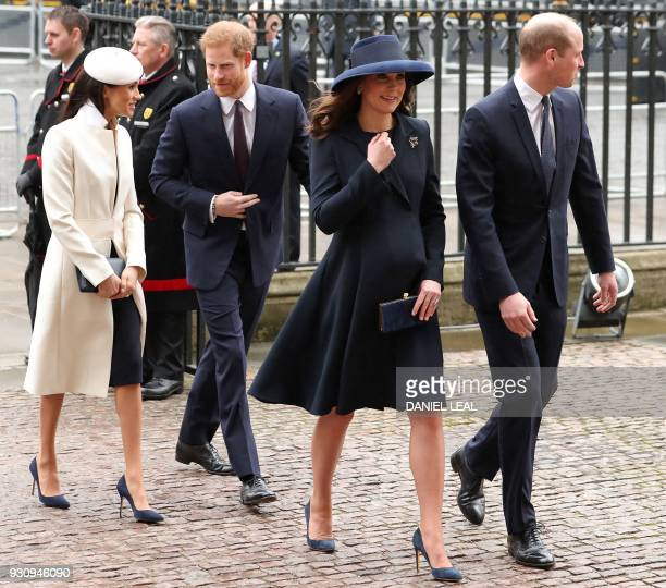 TOPSHOT Britain's Catherine Duchess of Cambridge and her husband Britain's Prince William Duke of Cambridge arrive with Britain's Prince Harry and...