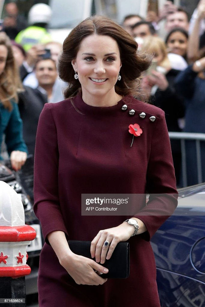 Britain's Catherine, Duchess of Cambridge and patron of national children's mental health charity Place2Be, arrives for the annual Place2Be School Leaders Forum in London on November 8, 2017. / AFP PHOTO / POOL / John Phillips