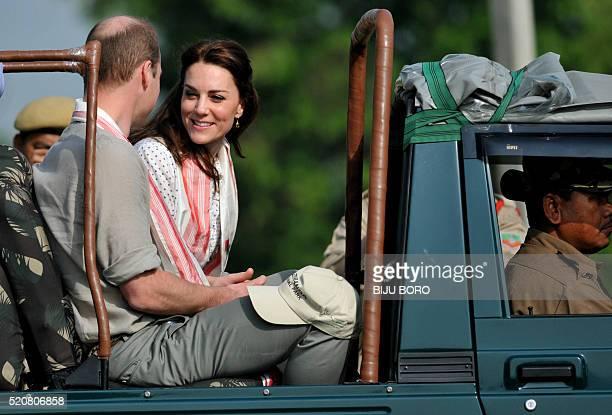 Britain's Catherine Duchess of Cambridge and Prince William Duke of Cambridge arrive for a safari through Kaziranga National Park on the fourth day...