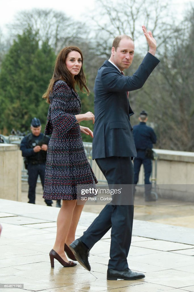 Britain's Catherine, Duchess of Cambridge and Prince William, Duke of Cambridge visit a 'Les Voisins in Action' event highlighting the strong ties between the young people of France and the UK at the Trocadero in front of the Eiffel tower during an official two-day visit to Paris on March 18, 2017 in Paris, France.