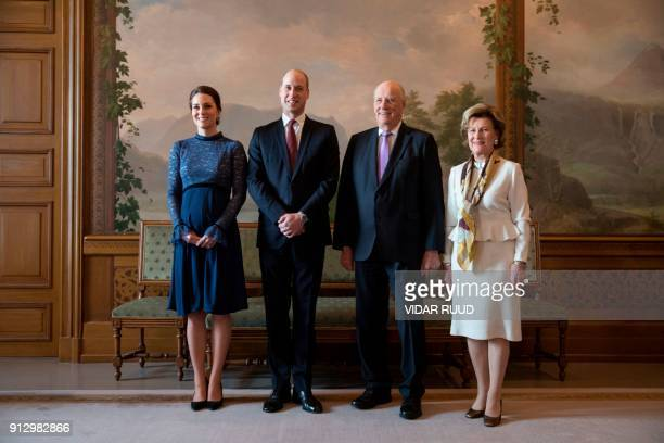 Britain's Catherine Duchess of Cambridge and Prince William Duke of Cambridge Norway's King Harald and Queen Sonja pose for a group photo as they are...