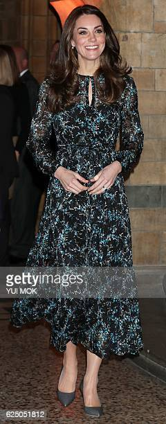 Britain's Catherine Duchess of Cambridge arrives at the Natural History Museum in London on November 22 to attend a children's tea party to celebrate...