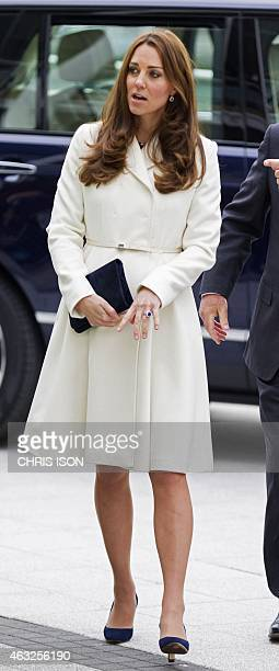 Britain's Catherine, Duchess of Cambridge arrives for a reception at the Spinnaker Tower in Portsmouth, southern England on February 12 in her...