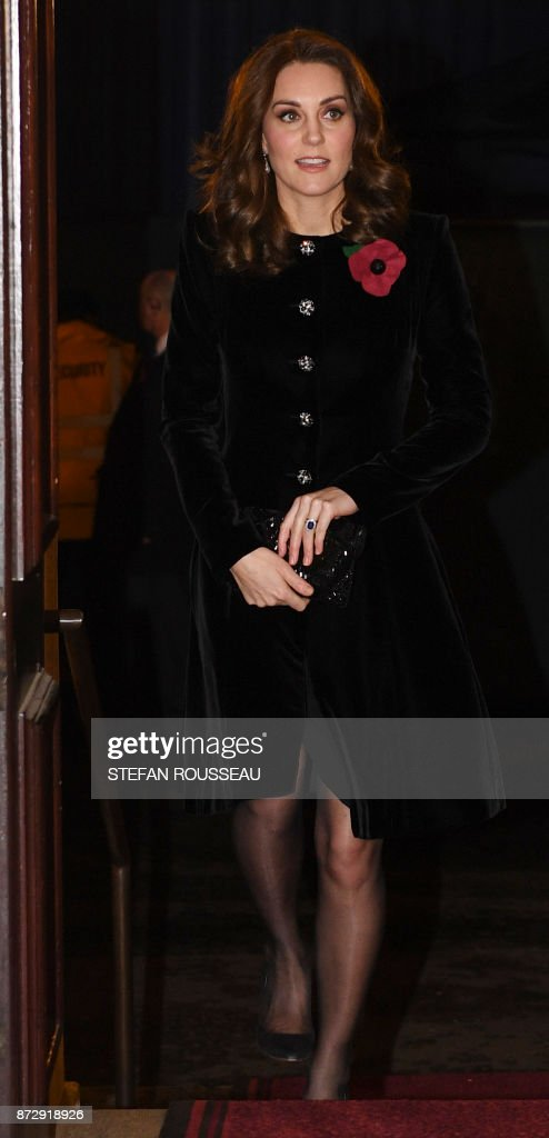 Britain's Catherine, Duchess of Cambridge, arrives for the the annual Royal Festival of Remembrance at the Royal Albert Hall in London on November 11, 2017 on Armistice Day. The Queen, accompanied by His Royal Highness The Duke of Edinburgh and other members of the Royal Family attended the annual Royal Festival of Remembrance at the Royal Albert Hall. The anniversary of Armistice Day, November 11, 1918, is marked in Britain with a number of events and acts of remembrance to honour those who fell in the two World Wars and subsequent conflicts. The red poppy is worn to symbolise the poppies which grew on French and Belgian battlefields during World War I. / AFP PHOTO / POOL / Stefan Rousseau