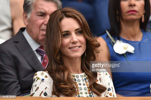 Britain's Catherine Duchess of Cambridge arrives in the royal box on centre court for the men's singles final match on the last day of the 2016...