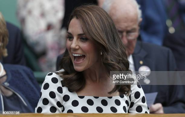 Britain's Catherine Duchess of Cambridge arrives on Centre Court to watch Britain's Andy Murray play Kazakhstan's Alexander Bublik during their men's...