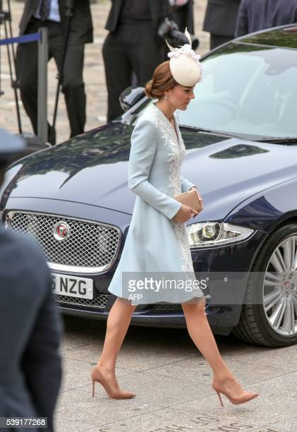 Britain's Catherine, Duchess of Cambridge, arrives to attend a national service of thanksgiving for the 90th birthday of Britain's Queen Elizabeth II...