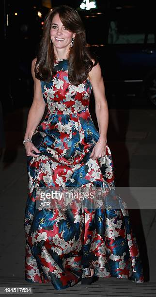 Britain's Catherine, Duchess of Cambridge arrives to attend the 100 Women in Hedge Funds Gala Dinner, in aid of The Art Room, at the Victoria and...