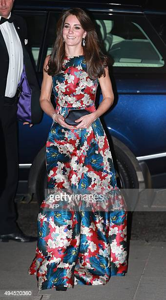 Britain's Catherine Duchess of Cambridge arrives to attend the 100 Women in Hedge Funds Gala Dinner in aid of The Art Room at the Victoria and Albert...